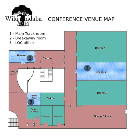 Floor map of Wiki Indaba 2014 conference venue